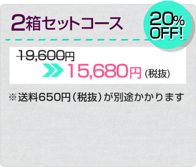 2箱セットコース 20%OFF 15,680円(税抜)※送料702円が別途かかります