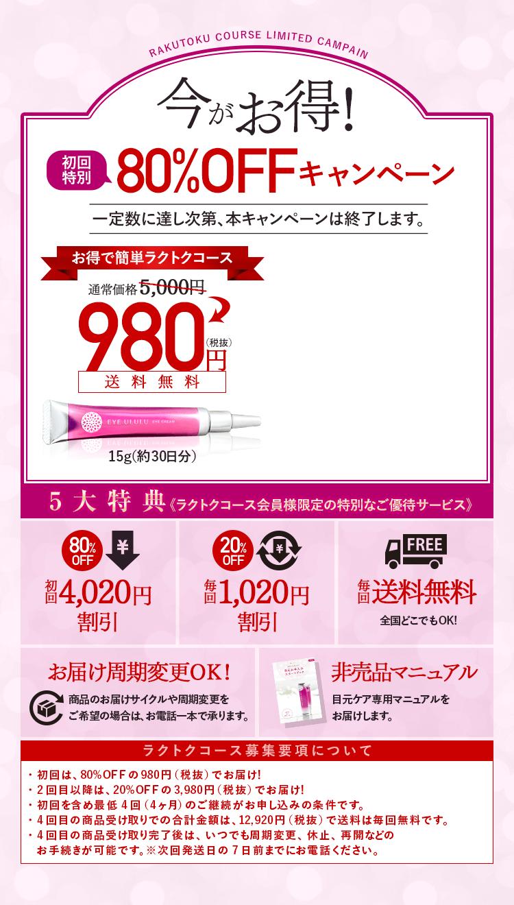 今がお得!80%OFFキャンペーン
