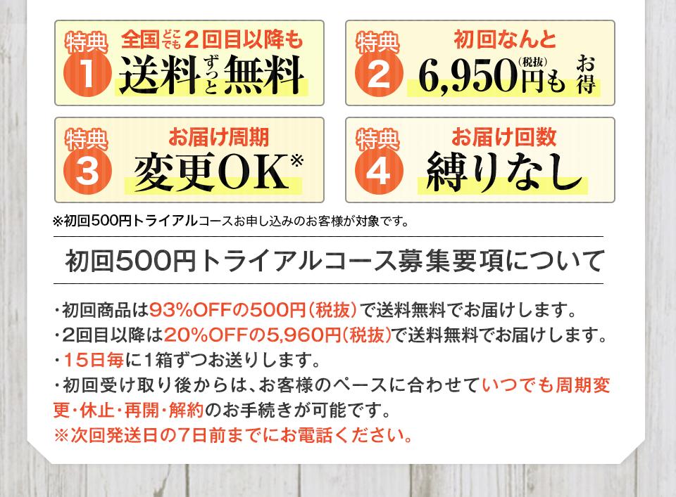 4大特典 初回500円特別定期コース募集要項について