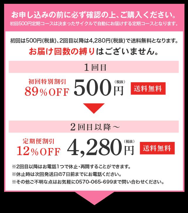 初回500円定期コースについてご購入の前の注意事項(必ずご確認ください)
