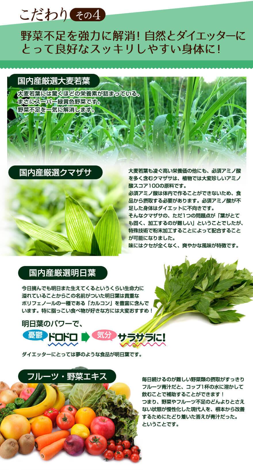 こだわりその4 野菜不足を強力に解消!自然と痩せやすい体質を目指せる!
