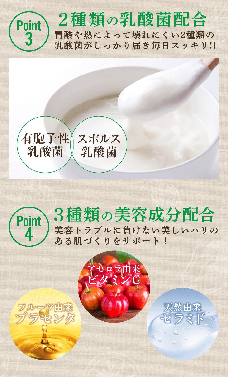 5つのこだわりでダイエットサポート 【Point3:2種類の乳酸菌配合】【Point4:3種類の美容成分配合】