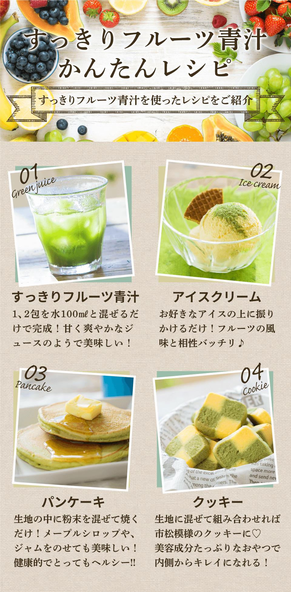 すっきりフルーツ青汁を使ったレシピをご紹介